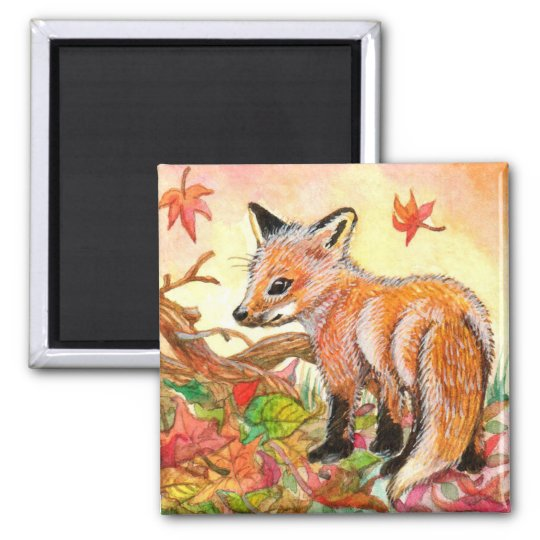 Fox in Autumn Leaves Square Magnet
