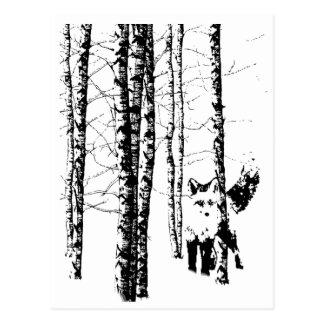 Fox in Birch Forest Modern Art Postcard