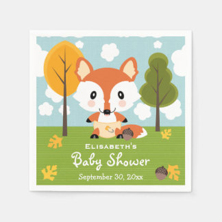 Fox in Diapers Baby Shower Disposable Serviette