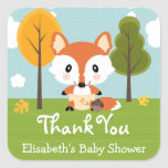 FOX IN DIAPERS BABY SHOWER THANK YOU SQUARE STICKERS