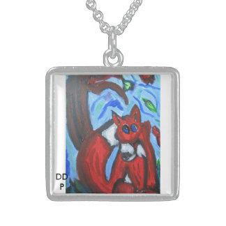 fox in  fall square pendant necklace