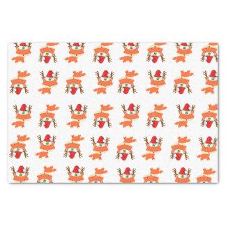 Fox In Reindeer Santa Hat Pattern First Christmas Tissue Paper
