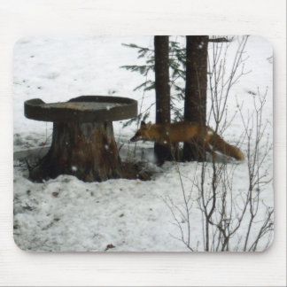 Fox in Snow Falling Mouse Pad