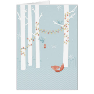 Fox in Winter, Birds with Christmas Lights Card