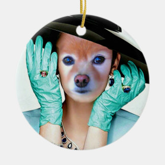 Fox Is A Lady With Gloves Round Ceramic Decoration