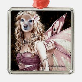 Fox Is A Pink Fairy Silver-Colored Square Decoration