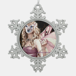 Fox Is A Pink Fairy Pewter Snowflake Decoration