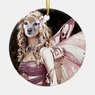 Fox Is A Pink Fairy Round Ceramic Decoration