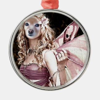 Fox Is A Pink Fairy Silver-Colored Round Decoration