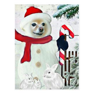 Fox Is A Snowman Postcard