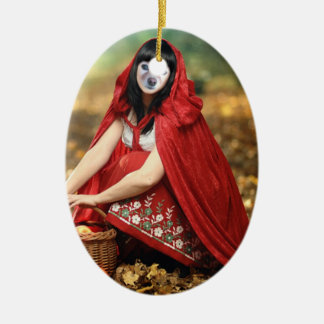 Fox Is Red Riding Hood Ceramic Oval Decoration