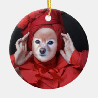 Fox Is The lady In Red Round Ceramic Decoration