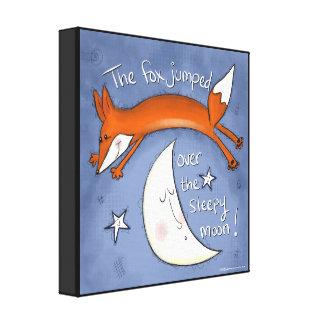 Fox  Jumps Over the Moon Canvas Print