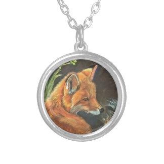 fox landscape paint painting hand art nature round pendant necklace