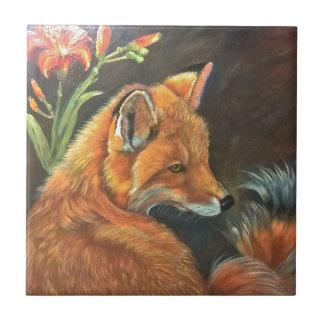 fox landscape paint painting hand art nature small square tile