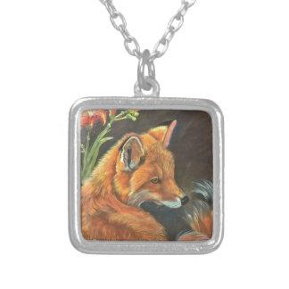 fox landscape paint painting hand art nature square pendant necklace