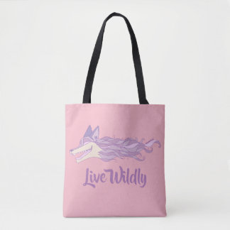 Fox Live Wildly Tote Bag Pastel Pink
