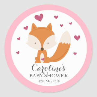 Fox Love Pink Baby Shower Sticker Classic Round Sticker