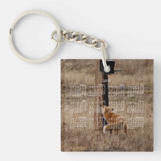 Fox Loves Utility Pole; 2013 Calendar Single-Sided Square Acrylic Key Ring