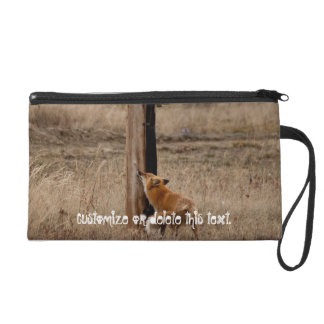 Fox Loves Utility Pole; Customizable Wristlet