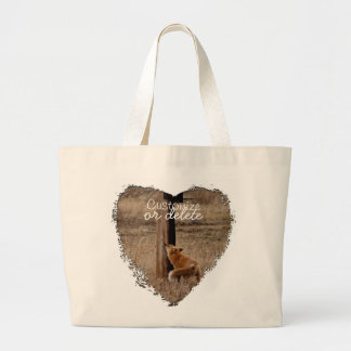 Fox Loves Utility Pole; Customizable Jumbo Tote Bag