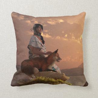 Fox Maiden Throw Pillow