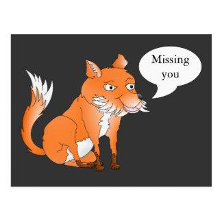 Fox, Missing you Postcard