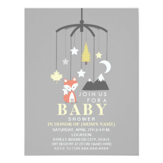 Fox Mobile Neutral Modern Baby Shower 11 Cm X 14 Cm Invitation Card