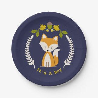 Fox Modern Boy Baby Shower Paper Plate