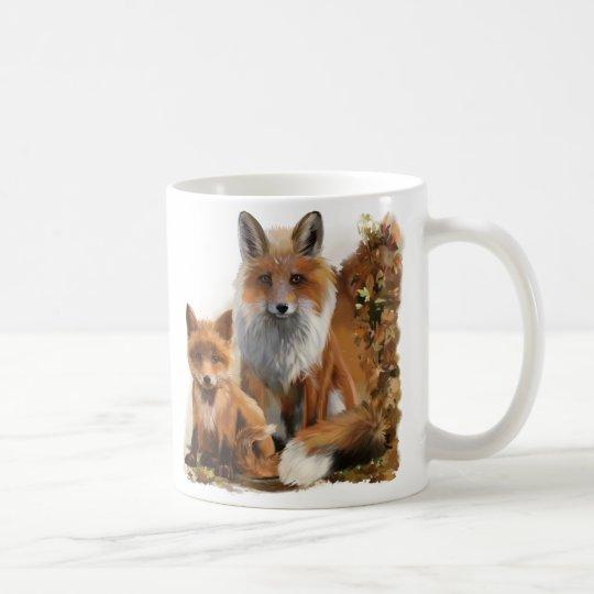 Fox mum and cub coffee mug
