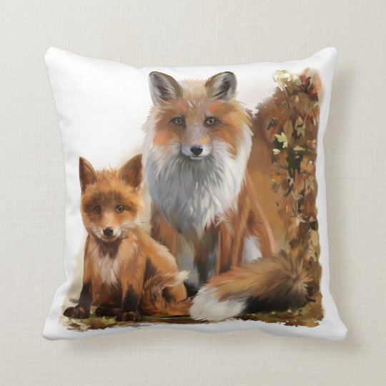 Fox mum and cub cushion