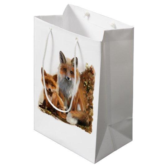 Fox mum and cub medium gift bag