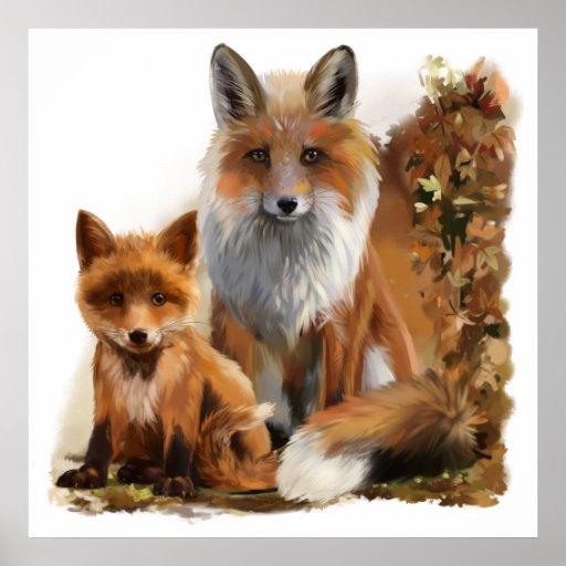 Fox mum and cub poster