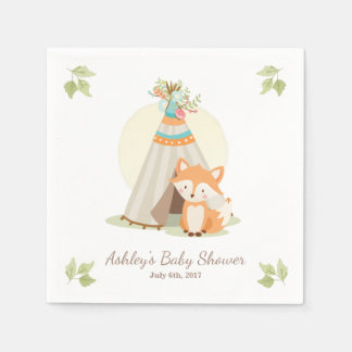 Fox Napkins woodland Baby shower Teepee pow wow Disposable Serviette