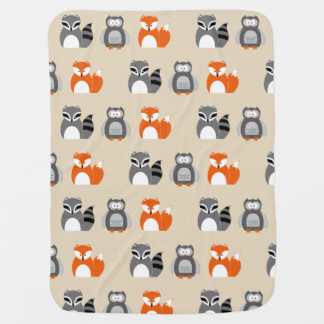 Fox, Owl and Raccoon Baby Blanket