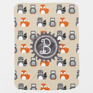 Fox, Owl and Raccoon Monogram Baby Blanket