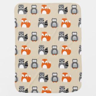 Fox, Owl and Racoon Baby Blanket