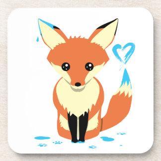 Fox Painting Blue Heart Cute Hard Plastic Coaster