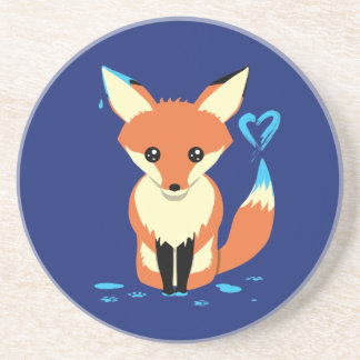 Fox Painting Blue Heart Cute Sandstone Coaster