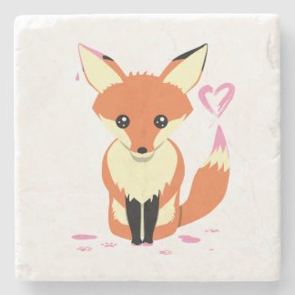 Fox Painting Pink Heart Cute Stone Coaster