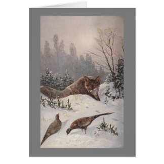 FOX & PHEASANTS ~ MUTED WINTER DAY ~ NOTE CARD