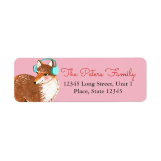 Fox Pink | Holiday Christmas | Address Labels