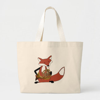 Fox Playing the French Horn Jumbo Tote Bag