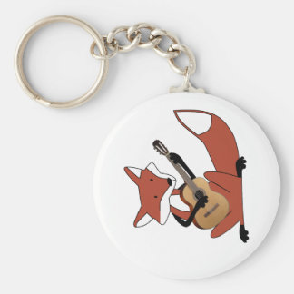 Fox Playing the Guitar Basic Round Button Key Ring