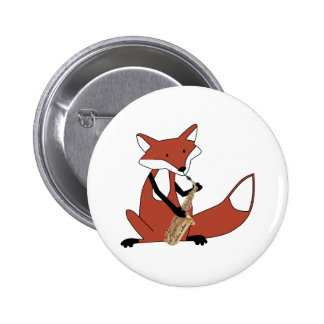 Fox Playing the Saxophone Pinback Button