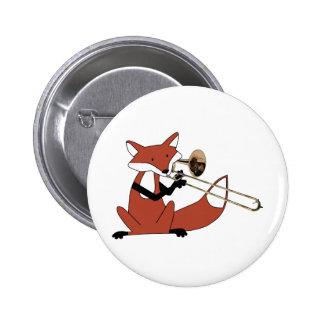 Fox Playing the Trombone 6 Cm Round Badge