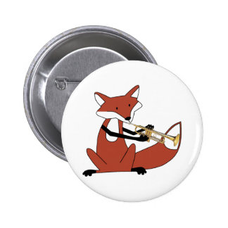 Fox Playing the Trumpet 6 Cm Round Badge