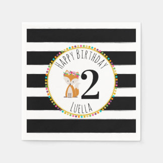 Fox Pompom Stripes Birthday Napkins Disposable Napkin
