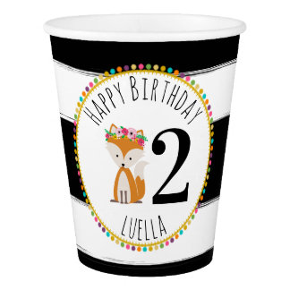Fox  Pompom Stripes Birthday Party Paper Cup
