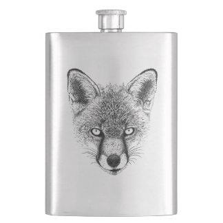Fox Portrait Wildlife Illustration Hip Flask